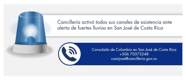Cancillería activó todos sus canales de asistencia ante alerta de fuertes lluvias en San José de Costa Rica